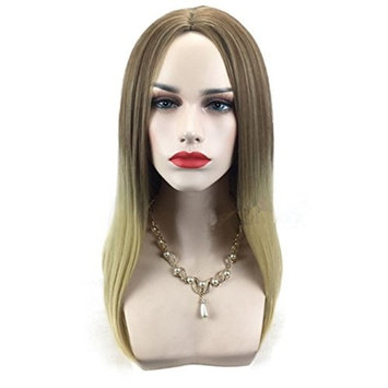 DAYISS Women's Long Straight Full Wig Stage Cosplay Glamour Heat Resistant Middle Part Bang Breathable Cap
