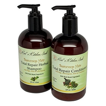 Beaucoup Hair All Natural Total Repair Herbal Shampoo & Conditioner 2 In 1 Set - Paraben & SLS Free - Moisturizes, Thickens Hair, Stop Shedding - Gentle On Thin, Colored, Keratin-Treated Hair
