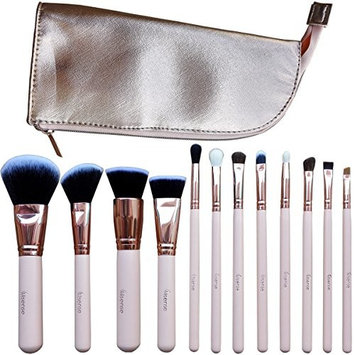 Allsense 12Pcs Rose Golden Makeup Professional Foundation Cosmetic with Roseo Golden Leather Bag Brush Set