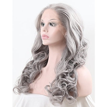 TANYAWIGS Gray Wavy Synthetic Lace Front Wigs Big Loose Wavy Heat Resistant Hair Glueless Cap For Fashion Woman