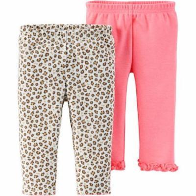 Newborn Baby Girl Pants, 2-Pack
