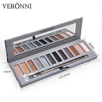 12 Colors Shimmer Eye Shadow Palette ,YOYORI Matte Pigment Waterproof Natural Eye Shadow Cosmetic Brush Set for Naked Natural Nude Bronze or Smokey Eye Makeup