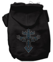 Mirage Pet Products 5481 XXLBK Warriors Cross Studded Hoodies Black XXL 18