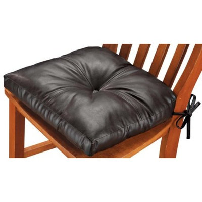 WalterDrake Faux Leather Chair Pad - Dark Chocolate