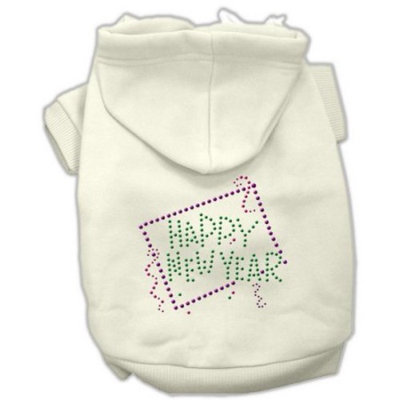 Mirage Pet Products Happy New Year Rhinestone Hoodies, Cream, X-Large/Size 16