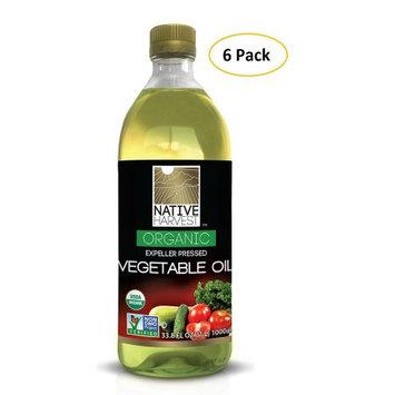 Native Harvest Organic Non-GMO Naturally Expeller Pressed Vegetable Oil, 1 Litre (33.8 FL OZ) 6 Packs