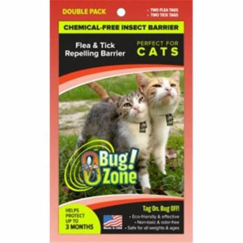 0Bug Zone Flea Tick Double Pack Barrier Tags for Cats