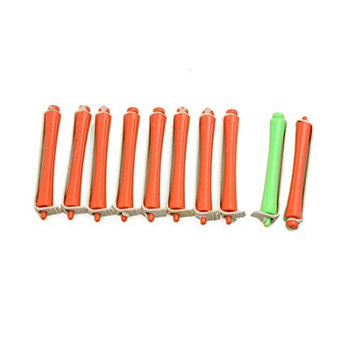 uxcell 10pcs 1.2cm Dia Green Orange Rubber Band Magic Hair Care Curler No-clip Hairstyle Roller []