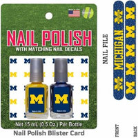 Bundle 2 Items: University of Michigan Nail Polish Team Colors with Nail Decals & Nail File