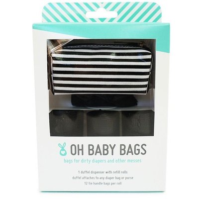 Oh Baby Bags Diaper Bag Clip-On Dispenser Gift Box with Disposable Bags for Dirty Diapers - Recycled Plastic - Stripe Duffle plus 48 Black Unscented Bags