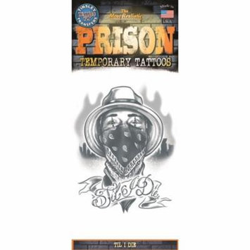 Tinsley Transfers Til I Die Prison Temporary Tattoo FX, Black White