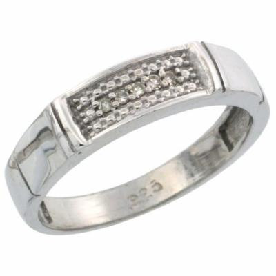 Sterling Silver Ladies' Diamond Wedding Band Rhodium finish, 3/16 inch wide
