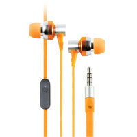 Cliptec Orange GHallo Music Stereo 3.5mm Wired In-Ear Headphones Noise Isolation In-line Control Mic