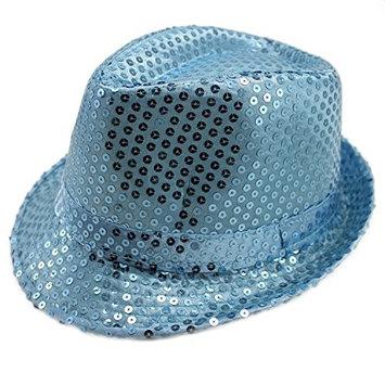Solid Color Sequins Fedora Hat
