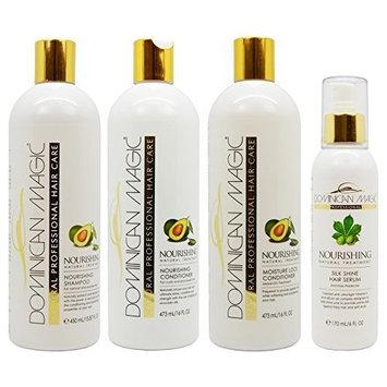 Dominican Magic Nourishing Shampoo & Conditioner & Moisture Lock Leave on & Silk Shine Serum 6oz Set by Dominican Magic