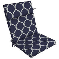 Arden Companies Better Homes and Gardens Outdoor Patio Dining Chair Cushion, Navy Nautical Rope