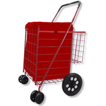 Lavohome Folding Shopping Cart DOUBLE BASKET SWIVEL Wheel Jumbo 360 Easy Rotation (RED WITH RED LINER)