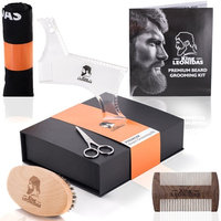 PREMIUM 5-Piece Beard Care Grooming Kit | Complete SET - Beard Brush, Sandalwood Comb, Trimming Scissors, Beard Bib & Shaping Tool | Great for Natural Growth, Shaping & Styling | Perfect GIFT for men