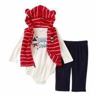 Little Wonders Infant Boys 3-Piece Snowman Vest Bodysuit & Pants Set 12m