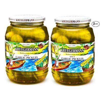 Kruegermann Pickles Spicy Garlic Mediterranean Style 2 Pack (64 floz total)
