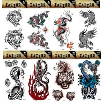Grashine 8pcs different long last and realistic temporary tattoos in 1package, it including tiger heads,dragons,eagles,cobra and snake tattoo stickers