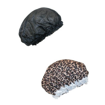 CTM Women's Satin Hair Roller Sleep Cap Cover (2 Pack), , Size: one size Black/Leopard