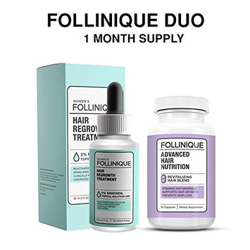 FOLLINIQUE - Incredible Hair ReGROWTH Treatment Combo – Fully FDA Approved - 2% Minoxidil – Fast Acting, Clinically Proven Results in 2 months – PLUS Advanced Hair Nutrition Vitamins & Minerals