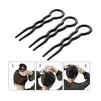 6PCS Magic Hair Grip Pins Plastic U Shaped Hair Insert Fork Plug Simple Fast Spiral Hair Braid Twist Styling Clip Pin Hairdressing Accessories For Women Girl Lady