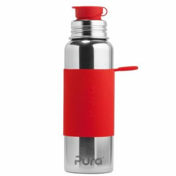 Pura 28 OZ / 850 ML Stainless Steel Water Bottle with Silicone Sport Flip Cap & Sleeve Red(Plastic Free, Nontoxic Certified, BPA Free)