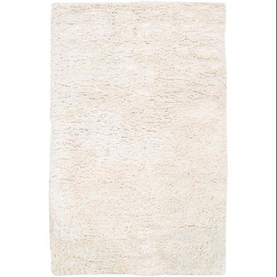 2' x 3' Ivory White Hand Woven Plush New Zealand Wool Area Throw Rug