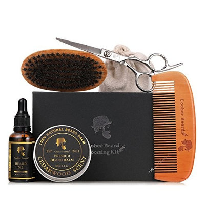 Beard Grooming & Trimming Kit for Men Care - Beard Brush, Beard Comb, Unscented Beard Oil Leave-in Conditioner, Mustache & Beard Balm Butter Wax, Barber Scissors for Styling, Shaping & Growth Gift set