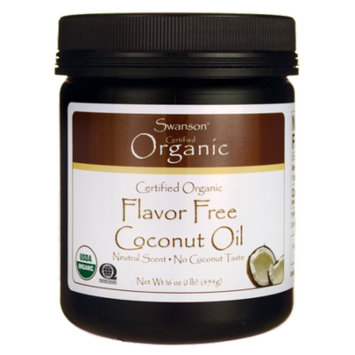 Swanson Certified Organic Flavor Free Coconut Oil 16 oz (1 lb) (454 g) Solid Oil