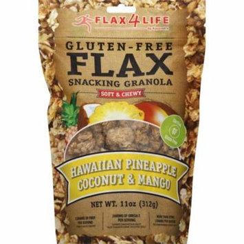 Flax4Life Gluten Free Flax Hawaiian Pineapple Coconut & Mange Snacking Granola, 11 oz, (Pack of 6)