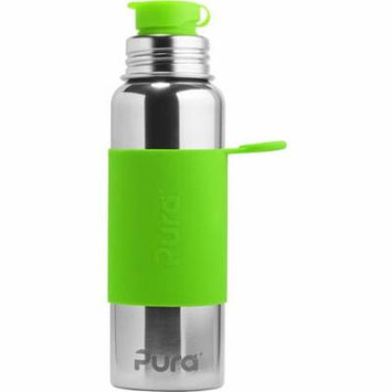 Pura 28 OZ / 850 ML Stainless Steel Water Bottle with Silicone Sport Flip Cap & Sleeve Green(Plastic Free, Nontoxic Certified, BPA Free)