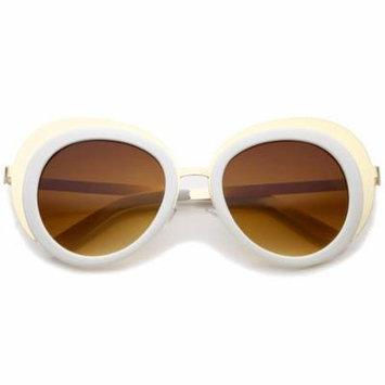 sunglassLA - Women's Oversize Two-Tone Metal Frame Border Round Sunglasses - 50mm