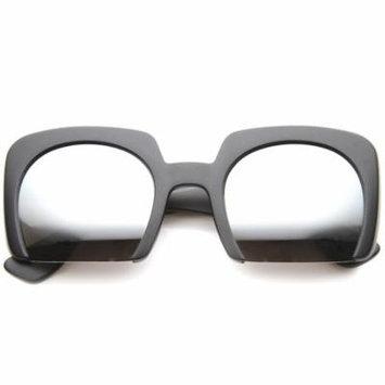 sunglassLA - Women's High Fashion Bold Bottom Cut Square Mirrored Lens Sunglasses - 52mm