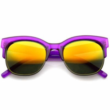 sunglassLA - Bold Colorful Half-Frame Two-Toned Inset Mirrored Lens Horn Rimmed Sunglasses - 55mm