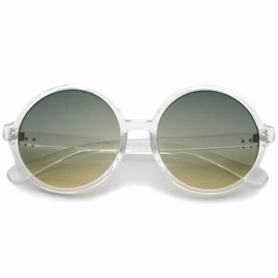sunglassLA - Retro Clear Frame Gradient Flat Lens Oversize Round Sunglasses - 54mm