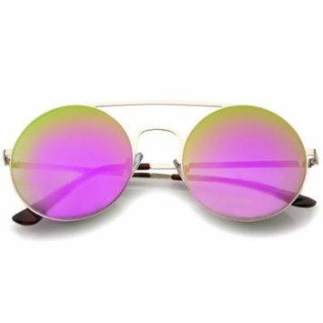 sunglassLA - Modern Slim Double Nose Bridge Colored Mirror Flat Lens Round Sunglasses - 53mm