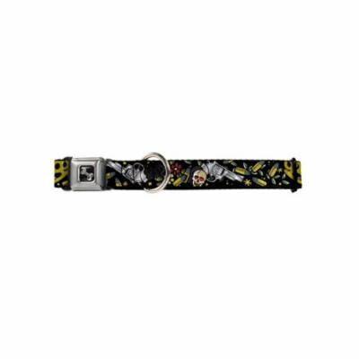 Skull Brass Knuckles Bullets Flowers Collage on Black Animal Seatbelt Pet Collar