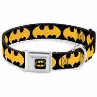 Dog Collar BMC-Batman Black Yellow - Bat Signal-1 Black Yellow - Large 15-26