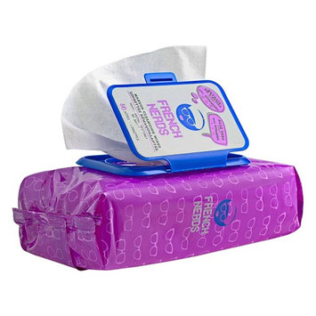 French Nerds Makeup Remover Towelettes, Cleansing Wipes for Eyes and Face, Infused with Vitamin A, C, E and Aloe Vera, Full Size, Large, 60 Count