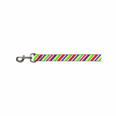 Bright Colorful Colors White Diagonal Striped Pattern Fun Animal Pet Dog Leash