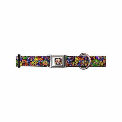 Mexican Day of the Dead Rainbow Sugar Skull Collage Seatbelt Pet Collar