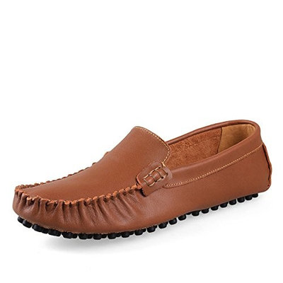 Men's leather breathable shoes men's casual shoes UK size shoes,Add hair dark brown,36