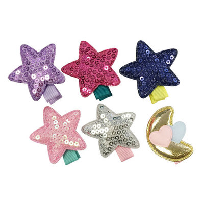 Wrapables® Baby Toddler Stars and Moon Ribbon Hair Clips (Set of 6)