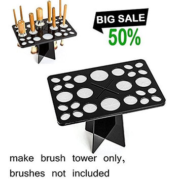 Mintbon Makeup Brushes Holder, Cosmetic Organizer Folding Brush Holder Air Drying Tower Folding Brush Rack Accessories Cosmetic Shelf Tools, 26 Holds, Black