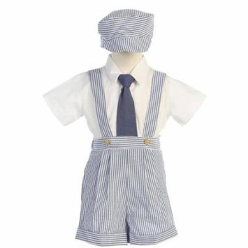 Blue Stripe Seersucker Suspender Shorts Outfit Boys 12M-4T