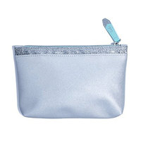 IPSY December 2017 Zippered Cosmetics Bag Shiny Silver - No Makeup Included