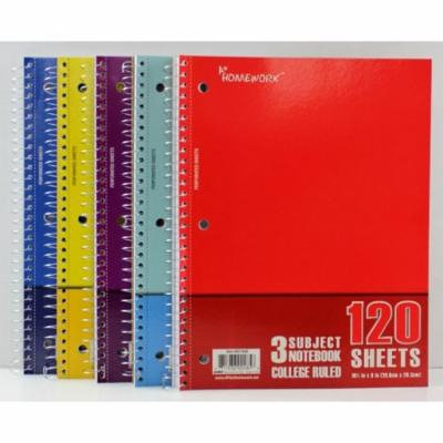 Notebook - 120 sheets - 3 subject - College Ruled Case Pack 24